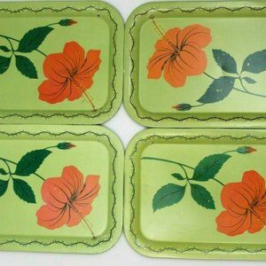 Vintage TV Tray Metal Meal Tray Floral Hibiscus H6